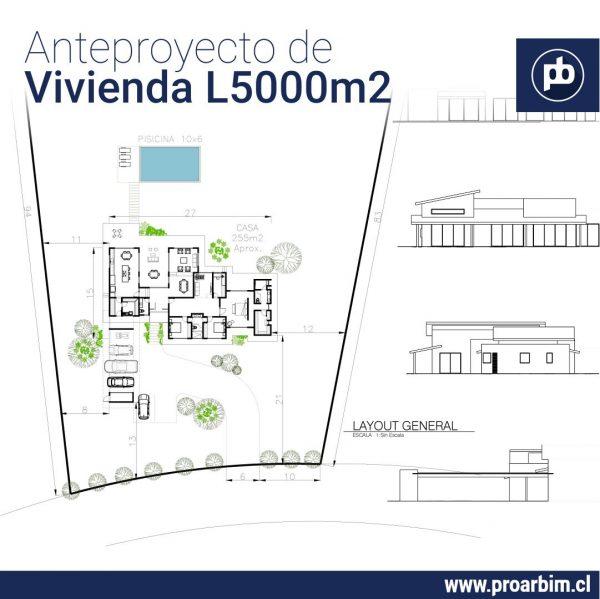 Anteproyectos de vivienda 3 en Lote 5000m2 www.proarbim.cl
